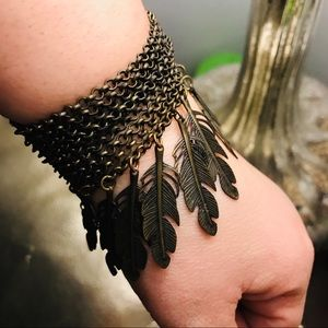 Jewelry - Brushed bronze metal feather chain bracelet